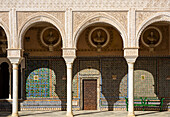 Highly artistic decoration in the main courtyard of the Casa de Pilatos, one of Seville´s finest mansions. Seville, Seville province, Andalusia, Spain.