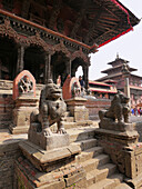 Nepal. Patan, an historic town in the Kathmandu Valley. Scenes in Durbar Square.