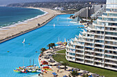 Chile, Algarrobo, San Alfonso del Mar, World´s largest man-made pool, elevated view.