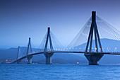 Greece, Peloponese Region, Gulf of Corinth, Patra-area, Rio Antirio Bridge, dawn.