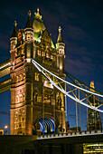 England, London, Tower Bridge, dusk.