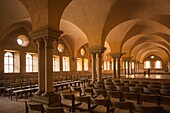Germany, Baden-Wurttemburg, Maulbronn, Kloster Maulbronn Abbey, interior of the abbey dining hall.