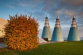 Germany, Nordrhein-Westfalen, Bonn, Museumsmeile, Bundeskunsthalle, museum of technology and art, rooftop towers.