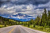 The Yellowhead Highway 16 in Jasper National Park, Alberta, Canada.