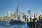 View from Jersey City waterfront at Manhattan skyline, New York, USA.