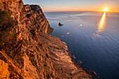 Mediterranean sea from the Sierra Helada cliffs. Benidorm. Alicante, Spain.