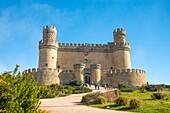 Facade of the castle. Manzanares El Real, Madrid province, Spain.
