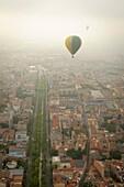 Aerial hot air balloon view Igualada, Barcelona Catalonia Spain.