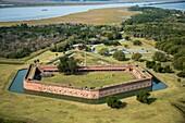 Aerial view of Fort Pulaski National Monument, a civil war landmark in Savannah, Georgia, USA.