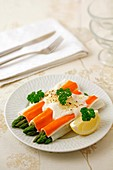 Crab rolls with wild asparagus.