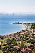 Gulf of Corinth, Nafpaktos village and view of the bridge Rio-Antirrio, Sterea Hellas, Greece, Europe.