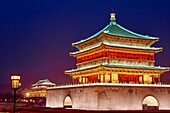 China, Shaanxi province, Xian, Bell Tower, dating from 14th century rebuilt by the Qing in 1739.