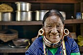 Hung Shen, 88 year old Magan Chin woman with face tattoos in Mindat, Myanmar. The tribal Chin women had their faces tattooed when they were around 15 years old, purportedly to protect them from being carried away by marauding men, and for beautification.