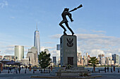Katyn-Siberia Memorial 1991 at Exchange Place, with Manhattan skyline in background, Jersey City, New Jersey, USA.