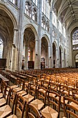 Pews and impressive columns in the Saint Gatien´s Cathedral in Tours, Indre-et-Loire, France, Europe