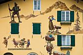 Wandmalerei, Lüftlmalerei, Florianiplatz, Bad Reichenhall, Berchtesgadener Land, Oberbayern, Bayern, Deutschland
