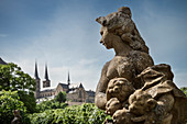 topless stone sculpture of woman in rose garden of new residence views at monastry at Michelsberg, Bamberg, Frankonia Region, Bavaria, Germany, UNESCO World Heritage