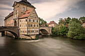 Bamberg's Old Town Hall in the middle of Regnitz river, Bamberg, Frankonia Region, Bavaria, Germany, UNESCO World Heritage long time exposure