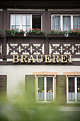nice frame work facade displaying the hint that this is a brewery, Bamberg, Frankonia Region, Bavaria, Germany, UNESCO World Heritage