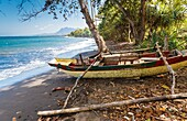 Seashore landscape and fishing boat. Flores island. Indonesia, Asia.