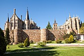 View of the wall, Cathedral of Santa Maria and Episcopal Palace in Astorga, Way of St. James, Leon, Spain.