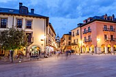Townhall square in Ponferrada, Way of St. James, Leon, Spain.