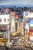 Shibuya. Scramble Kousaten crossing in Hachiko square. Tokyo city, Japan.