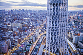 Detail of Skytree tower and northern skyline of the city, Tokyo, Japan.