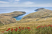 Springtime on Cape Tenaro near Kokinogia at the very tip of the deep Mani, with the island of Kythira in the distance, Lakonia, Peloponnese, Greece.