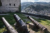 Old cannon barrels in the castle grounds at Gjirokastra in southern Albania.