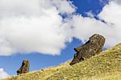 Rano Raraku, the quarry site for all moai statues on Easter Island (Isla de Pascua, Rapa Nui), Chile.