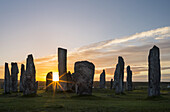 Standing Stones of Callanish (Callanish 1) on the Isle of Lewis in the Outer Hebrides. The megalithic monument is cross shaped with a central ring of stones and was buildt between 2900 and 2600 BC. It is probably oriented towards the moon not the sun. Eur