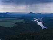 Elbe Sandstone Mountains (Elbsandsteingebirge) in the NP Saxon Switzerland (Saechsische Schweiz) during spring. Kipphorn viewpoint and the valley of river Elbe and spa Bad Schandau. Europe, Central Europe, Germany, Saxony, May.