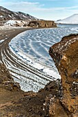 Kleifarvam lake frozen by winter. Iceland southern. Iceland.
