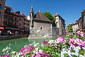 Annecy, Haute-Savoie department, Rhone-Alpes, France. Palais de l´Isle in the middle of the Thiou river.