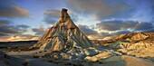 Castildeterra rock formation in the Bardena Blanca area of the Bardenas Riales Natural Park, Navarre, Spain.