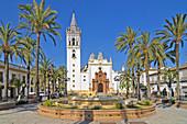 Spain Square and Church of San Juan Bautista, La Palma del Condado, Huelva-province, Region of Andalusia, Spain, Europe.
