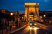Eastern Europe, Hungary, Budapest, The Danube River The Chain Bridge at night.
