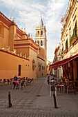 Cafe and alleyway by the Iglesia de Santa Ana, Triana, Seville, Spain