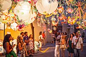 Joan Blanques Street decorated during Gracia Festival. Barcelona, Catalonia, Spain.