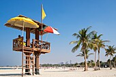 Lifeguard tower at Al Mamzar Beach Park in Sharjah United Arab Emirates.