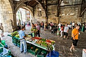 Sunday local market under Santa María de Uribarri biggest Church hall covered in Europe. Durango, Biscay, Basque Country, Spain.