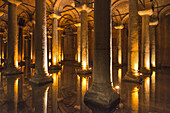Columns in the Yerebatan underground Cistern near the Hippodrome, Sultanahmet, Istanbul, Turkey.