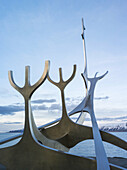 Solfar, a landmark of Reykjavik. Solfar icelandic for Sun Voyager is a sculture made of stainless steel in the harbour of Reykjavik made be the artist Jon Gunnar Arnason. europe, northern europe, iceland, February.