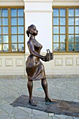 Main Train Station - Now a Museum of Science and Industry - Bronze Sculpture of railway workers - This statue is of a Provodnitsa - (carriage attendant). Yekaterinburg. Siberia. Russia