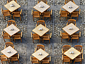 Nine outside coffe tables, view from above, Cathedral square, Cadiz, Andalusia, Spain