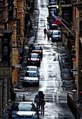 narrow street in the evening, Valletta, Malta, Europe.
