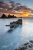 Bigbury Bay at sunset, Burgh Island, Bigbury-on-Sea, South Hams, Devon, England, Europe.