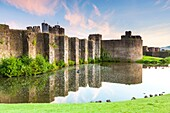 Caerphilly Castle (Castell Caerffili), a medieval castle that dominates the centre of the town of Caerphilly in south Wales It is the largest castle in Wales and the second largest in Britain. Built mainly between 1268 and 1271, Glamorgan, Wales, UK, Euro