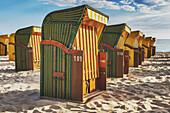 Beach chairs at the Baltic Sea beach, Baltic resort Binz, Ruegen Island, County Vorpommern-Ruegen, Mecklenburg-Western Pomerania, Germany, Europe.